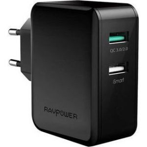 Сетевое зарядное устройство RavPower USB Wall Charger Quick Charge 3.0 2xUSB 30W Black (RP-PC006BK)