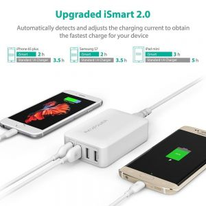 Сетевое зарядное устройство RavPower USB Wall Charger Quick Charge 3.0 4xUSB 40W White (RP-PC024WH)