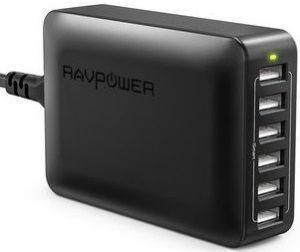 Сетевое зарядное устройство RavPower USB Wall Charger Station with iSmart Technology 6xUSB 60W 12A Black (RP-PC028BK)