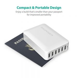 Сетевое зарядное устройство RavPower USB Wall Charger Station with iSmart Technology 6xUSB 60W 12A White (RP-PC028WH)