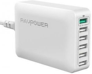 Сетевое зарядное устройство RavPower USB Wall Charger Station Quick Charge 3.0 6xUSB 60W 12A White (RP-PC029WH)