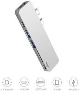 Переходник WIWU Adapter T8 USB-C to 2xUSB-C+HDMI+micro SD+SD+2xUSB3.0 HUB Silver