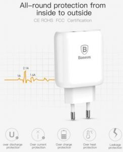 Сетевое зарядное устройство Baseus USB Wall Charger Bojure Series USB-C Quick charge 32W White with USB-C to Lightning Cable (TZTUN-BJ02)