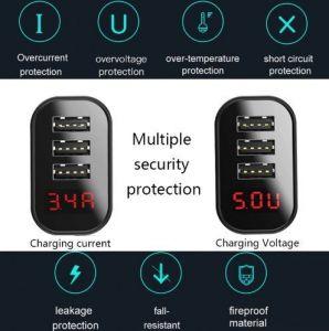 Сетевое зарядное устройство Baseus USB Wall Charger 3xUSB 3.4A Mirror Lake Intelligent Digital Display Black (CCALL-BH01)