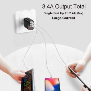 Сетевое зарядное устройство Baseus USB Wall Charger 3xUSB 3.4A Mirror Lake Intelligent Digital Display White (CCALL-BH02)