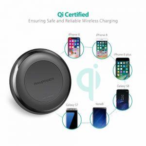Беспроводное зарядное устройство RavPower Wireless Fast Qi Charging 10W Black + QC 3.0 Adapter (RP-PC058)