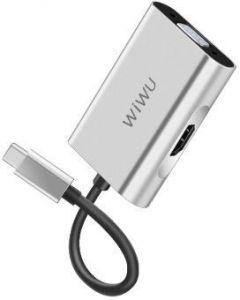 Переходник WIWU Adapter Apollo A20VH USB-C to HDMI+VGA Silver (6957815507122 )
