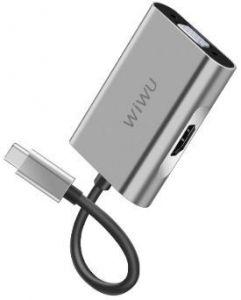 Переходник WIWU Adapter Apollo A20VH USB-C to HDMI+VGA Gray (6957815507115)