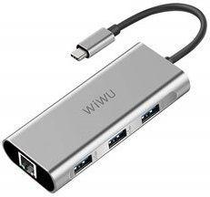 Переходник WIWU Adapter Apollo A430R USB-C to RJ45+3xUSB3.0 HUB Gray (6957815507160)