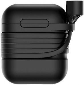 Силиконовый чехол для зарядного кейса + ремешок для AirPods 1 (2016) Baseus Silicone Case Black (TZARGS-01)