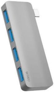 USB хаб WIWU Adapter T6S USB-C to 4xUSB3.0 HUB Grey (695781550954)