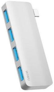 USB хаб WIWU Adapter T6S USB-C to 4xUSB3.0 HUB Silver (695781550953)