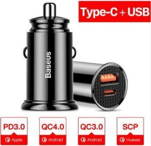 Автомобильное зарядное устройство Baseus PPS USB Car Charger USB 3.0+USB-C 30W Black (CCALL-YS01)