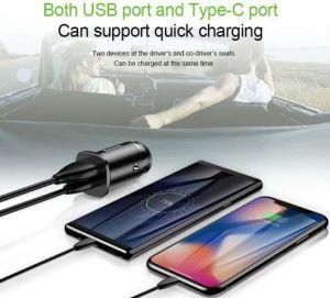 Автомобильное зарядное устройство Baseus USB Car Charger Square Metal Quick Charger 3.0 2xUSB 30W Black (CCALL-DS01)