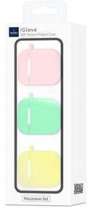 Набор из 3-х силиконовых чехлов для зарядного кейса AirPods 1 (2016) WIWU iGlove Macaron Set 3 in 1 Light Pink/Light Blue/Light Yellow