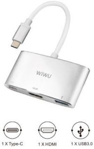 Переходник WIWU Adapter C2H USB-C to USB-C+HDMI+USB3.0 HUB Silver