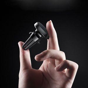 Автодержатель (до 7'') Baseus Privity Series Pro Air outlet Magnet Bracket (Genuine leather) Black (SUMQ-PR01)