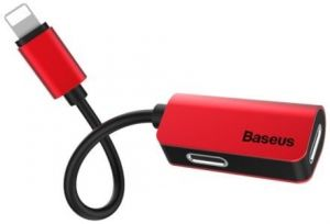Переходник Baseus iP Male to iP+iP Female Adapter L37 Red