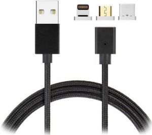 Кабель Magnetic Cable 3in1 with LED Lighting+Micro+Type C Black