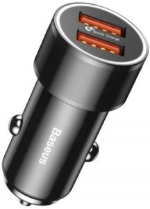 Автомобильное зарядное устройство Baseus Small Screw Dual-USB Quick Charge Car Charger 36W Black (CAXLD-B01)