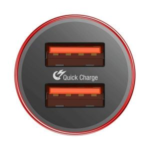 Автомобильное зарядное устройство Baseus Small Screw Dual-USB Quick Charge Car Charger 36W Red (CAXLD-B09)