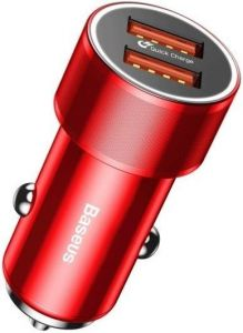 Автомобильное зарядное устройство Baseus Small Screw Dual-USB Quick Charge Car Charger 36W Red (CAXLD-B09)