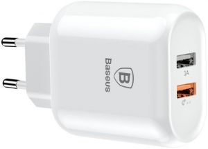 Сетевое зарядное устройство Baseus Bojure Series Dual-USB quick charge charger for EU 18W White (CCALL-AG02)