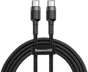 Кабель Type-C (1 м, 60W) Baseus Cafule Series PD2.0 Flash charge Cable (20V 3A) Gray Black (CATKLF-GG1)