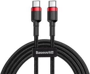 Кабель Type-C (1 м, 60W) Baseus Cafule Series PD2.0 Flash charge Cable (20V 3A) Red Black (CATKLF-G91)