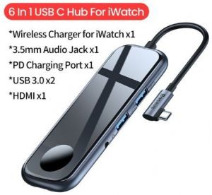 Переходник + беспроводное ЗУ для Apple Watch 1/2/3/4 Baseus Superlative HUB (2хUSB3.0+ HDMI+Audio+PD+iWatch charger) Deep gray (CAHUB-AZ0G)