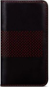 Кожаный чехол для iPhone SE и iPhone 5/5S Bling My Thing INFINITY DOTS FLIP (BLACK/RED) (BMT-INF-DT-BKR-FC-IP)