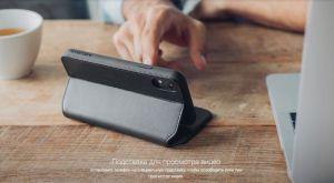 Чехол для iPhone XR Moshi Overture Premium Wallet Case Charcoal Black (99MO091010)