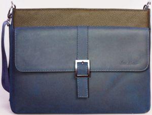 Кожаная сумка для ноутбуков до 13'' Issa Hara Original Man Navy Blue / Brown (B17(12-33))