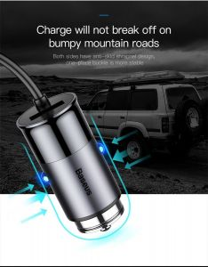 Автомобильное зарядное устройство Baseus Enjoy Together Four Interfaces Output Patulous Car Charger 5.5A Dark gray (CCTON-0G)