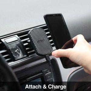 Автодержатель (до 7'') с беспроводным зарядным устройством Pitaka Magnetic Mount Qi Car Vent Black (CM001Q)