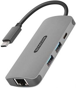 Переходник Sitecom USB-C to Gigabit LAN Adapter with USB-C to Power Delivery + 2 USB 3.0 Gray (CN-378)