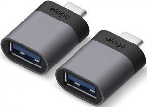 Переходник (2 шт.) Elago Mini Aluminum USB-C to USB-A 3.0 Adapter Dark Grey (2 Set) (EADP-ALUSBC-DG-2P)