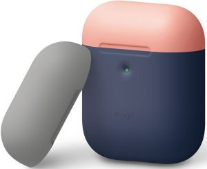 Силиконовый чехол для зарядного кейса AirPods 2 Elago A2 Duo Case Indigo/Peach/Medium Grey for Airpods with Wireless Charging Case (EAP2DO-JIN-PEMGY)