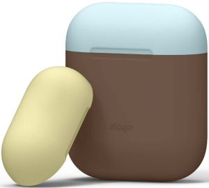 Силиконовый чехол для зарядного кейса AirPods 1 (2016) Elago Duo Case Dark Brown/Pastel Blue/Yellow for Airpods (EAPDO-DBR-YEPBL)