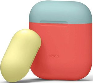Силиконовый чехол для зарядного кейса AirPods 1 (2016) Elago Duo Case Italian Rose/Coral Blue/Yellow for Airpods (EAPDO-IRO-CBLYE)