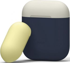 Силиконовый чехол для зарядного кейса AirPods 1 (2016) Elago Duo Case Jean Indigo/Classic White/Yellow for Airpods (EAPDO-JIN-CWHYE)