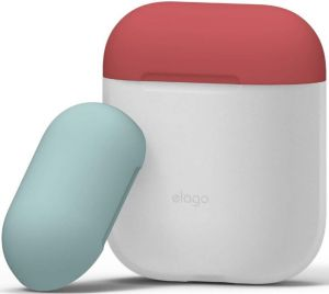 Силиконовый чехол для зарядного кейса AirPods 1 (2016) Elago Duo Case Nightglow Blue/Italian Rose/Coral Blue for Airpods (EAPDO-LUBL-IROCBL)