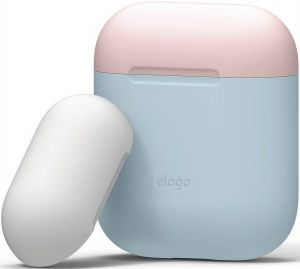 Силиконовый чехол для зарядного кейса AirPods 1 (2016) Elago Duo Case Pastel Blue/Pink/White for Airpods (EAPDO-PBL-PKWH)