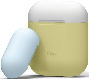 Силиконовый чехол для зарядного кейса AirPods 1 (2016) Elago Duo Case Yellow/White/Pastel Blue for Airpods (EAPDO-YE-WHPBL)