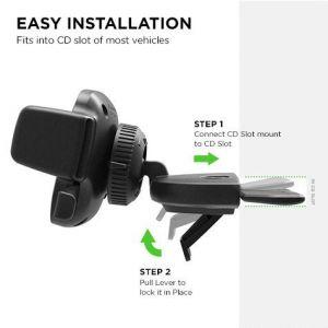 Автодержатель для iPhone X / XS / XR / XS Max / 8 Plus / 8 / 7 Plus / 7 / 6 Plus / 6 / SE / 5 iOttie Easy One Touch 4 CD Slot Mount (HLCRIO127)