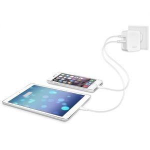 Сетевое зарядное устройство Macally с разъемами USB-C/USB-A White (HOME24UC-EU)