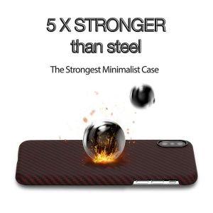 Сверхпрочный чехол для iPhone XS MAX (6.5'') Pitaka Aramid Case Black/Red (KI9003XM)