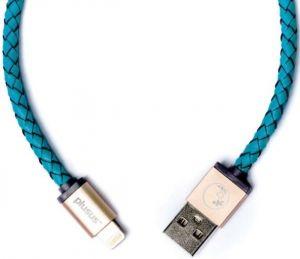 Прочный кабель Lightning (1 м, 2.4A) PlusUs Lifestar Handcrafted Cross Turquoise (1 m) (LST2003100)