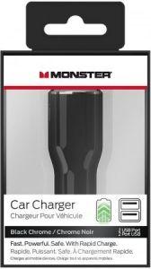 Автомобильное зарядное устройство Monster Mobile MAX 2 with Dual USB - Black and Chrome (MNO-133048-00)