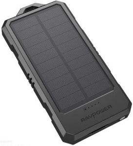 Внешний аккумулятор RAVPower 15000mAh Solar Portable Charger, Waterproof, Dustproof, Shockproof Black (RP-PB124)